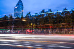 Night scenery of the city, the light trails of city traffic Stock Image
