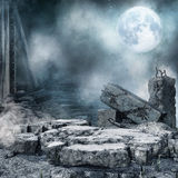 Night scenery with city rubble. Night scenery with a moon, ruined city and rubble Royalty Free Stock Images