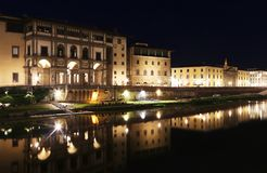 Night scenery of Florence or Firenze city Italy stock photography