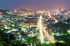 Night scenery of Keelung, a harbor city in northern Taiwan Royalty Free Stock Image