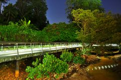 Night scenery of lighted walkway at Berlayer Creek Royalty Free Stock Photos