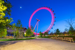 Night scenery of London Eye at the Thames river Stock Image