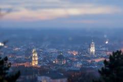 Night scenery of Lviv. Night panorama view of Lviv, Ukrainian city. Miniature faking, diorama illusion Royalty Free Stock Photos