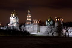Night scenery of Novodevichiy monastery. Moscow, Russia royalty free stock photography