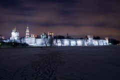 Night scenery of Novodevichiy monastery. Moscow, Russia royalty free stock image