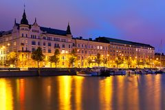 Night scenery of the Old Town in Helsinki, Finland Stock Photography