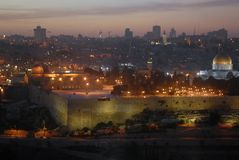 Night scenery overlooking the Wailing Wall or the Western Wall, the longest part of the western wall of the Temple Mount, Jerusale Royalty Free Stock Photo