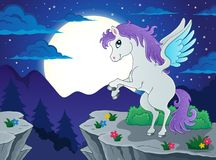 Night scenery with pegasus Royalty Free Stock Photos