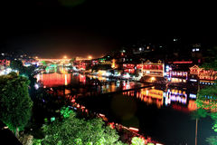 Night scenery of the Phoenix Town in China Royalty Free Stock Image