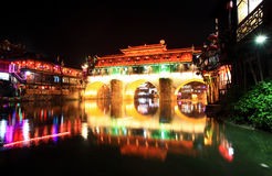 Night scenery of the Phoenix Town in China Stock Photography