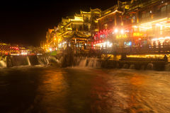 Night scenery of the Phoenix town ( Fenghuang ancient city ). Stock Photo