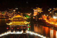 Night scenery of the Phoenix town ( Fenghuang ancient city ). Royalty Free Stock Photos