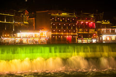 Night scenery of the Phoenix town ( Fenghuang ancient city ). Royalty Free Stock Images