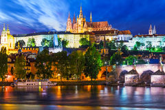 Night scenery of Prague, Czech Republic Stock Image