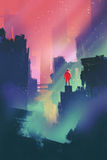 Night scenery with red man standing on abandoned city. Illustration painting Stock Photo