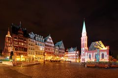 Night scenery of Romerberg Roman Mountain Square, a famous tourists destination in the old town of Frankfurt stock photos