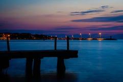 Night Scenery By The Sea Stock Photos