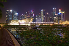 Night scenery of Singapore City taken from the front walk of The Shoppes at Marina Bay Sands Royalty Free Stock Images