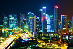 Night Scenery of Singapore's downtown Stock Images