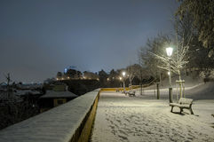Night scenery of snowy Prague streets Stock Photo
