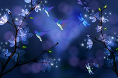 Night scenery. This is a night scenery with stars ,birds and flowers Royalty Free Stock Image