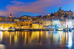 Night scenery of Stockholm, Sweden Stock Photography