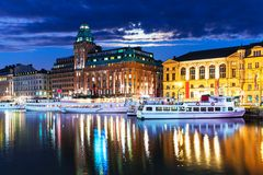 Night scenery of Stockholm, Sweden Royalty Free Stock Images