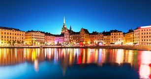 Night scenery of Stockholm, Sweden Royalty Free Stock Photography