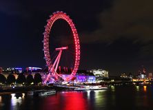 Night scenery of Thames river in London United Kingdom. Long exposure photography stock photo