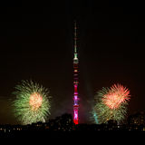 Night scenery with TV Tower and fireworks, Moscow Stock Photography