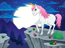 Night scenery with unicorn Stock Image