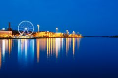 Night Scenery View Of Embankment With Ferris Wheel Royalty Free Stock Image