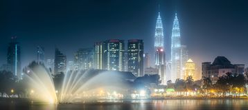 Night scenery view of Kuala Lumpur skyline Royalty Free Stock Photo