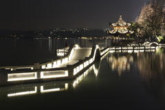 Night scenery in West Lake of Hangzhou, China Royalty Free Stock Image