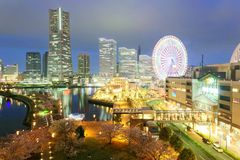 Night scenery of Yokohama Minatomirai Bay Area, with view of high rise skyscrapers in the background Royalty Free Stock Images