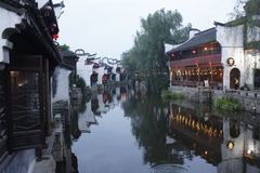 The night scenery of Yuehe old street (Jiaxing,China) Stock Image