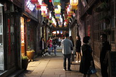 The night scenery of Yuehe old street (Jiaxing,China) Royalty Free Stock Photo