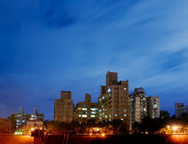 Night Scenes of Apartment Royalty Free Stock Images