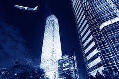 Night scenes of beijing financial center district stock photo