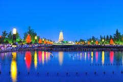 Night scenes  of Big wild goose pagoda Royalty Free Stock Photo