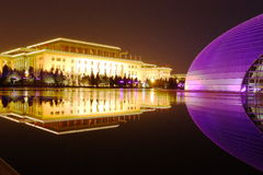 Night scenes of China Grand National Theater stock photos