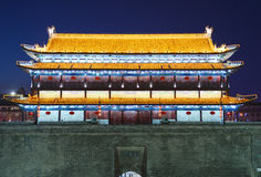 Night scenes of Chinese traditional building architecture Royalty Free Stock Images