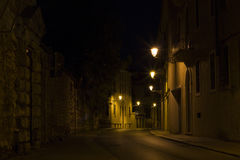 Night scenes in the city. A street and its streetlights in the night in Vicenza city Stock Image