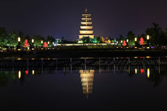 The night scenes of Dayan tower , Big Wild Goose Pagoda Royalty Free Stock Photo