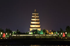 The night scenes of Dayan tower , Big Wild Goose Pagoda Royalty Free Stock Image