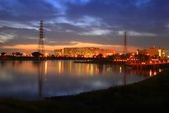 Night scenes of factory Stock Photos