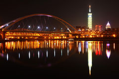 Night scenes of Famous 101. Skyscraper in Taipei city Stock Images