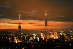 Night scenes of Famous 101 skyscraper. In Taipei city Stock Images