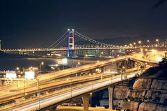 Night scenes of highway Bridge Stock Photos