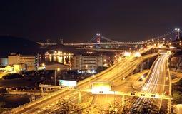 Night scenes of highway Bridge Stock Images